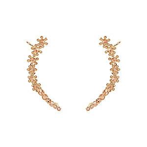 Gold tone flower ear cuffs