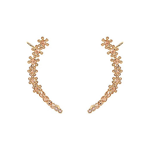 Gold tone flower ear cuffs
