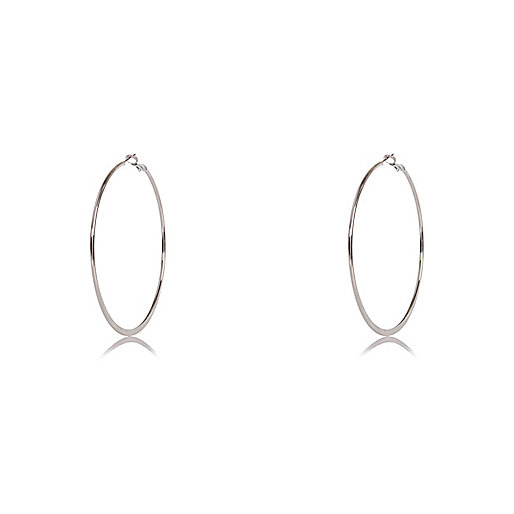 Silver tone flat hoop earrings