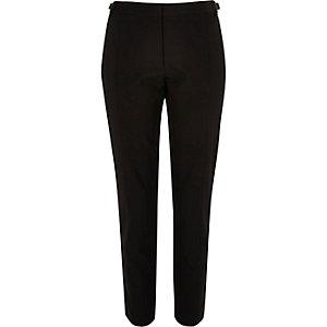 Black tab side slim trousers