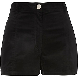 Black high waisted cord shorts