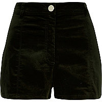 Khaki high waisted cord shorts