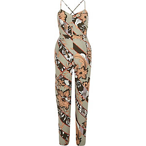 Green floral print tapered jumpsuit