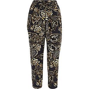 Navy floral print pants