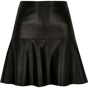 Black leather look flippy skirt