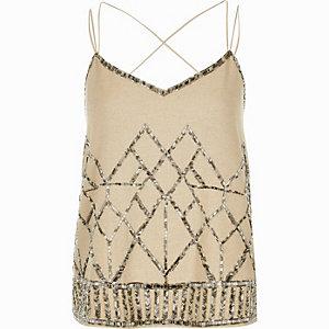 Beige embellished cami