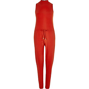 Red jersey sleeveless jumpsuit