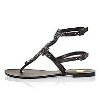 Black leather embellished T-bar sandals