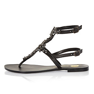 Black embellished T-bar sandals