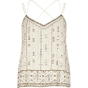 White bead embellished cami