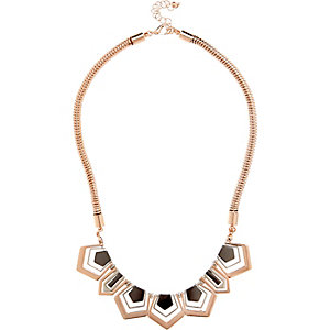 Rose gold tone shape necklace