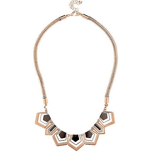 Rose gold tone shape necklace
