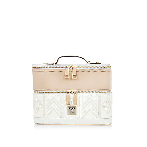 White embroidered vanity case