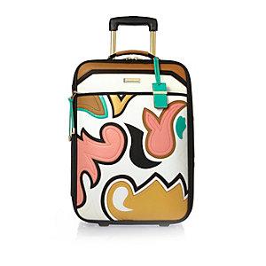 Beige appliqué suitcase