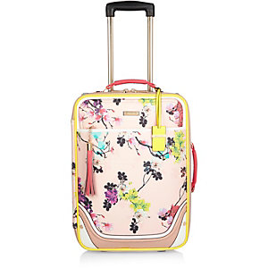 Pink floral print suitcase