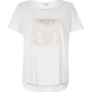 White metallic slogan print t-shirt
