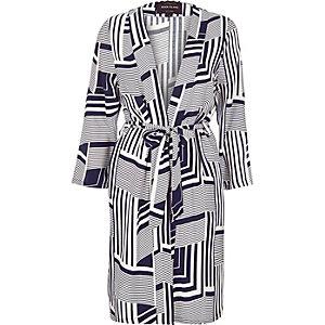 Blue print belted kimono