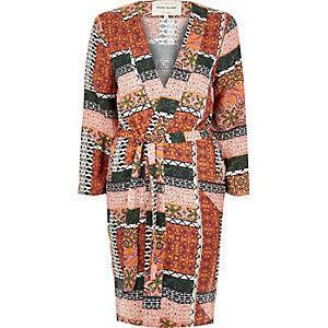 Orange print belted kimono