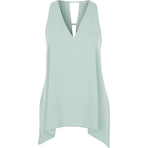 Light green hanky hem tank