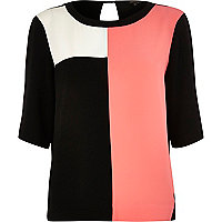 Pink color block t-shirt