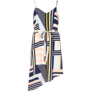 Blue stripe asymmetric slip dress