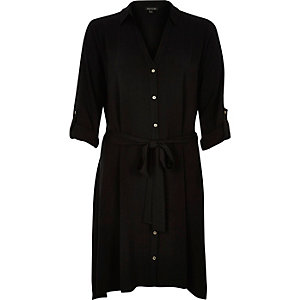 Black hanky hem shirt dress
