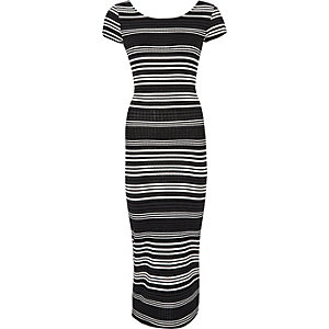 Black stripe maxi bodycon dress