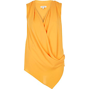 Orange wrap front sleeveless blouse