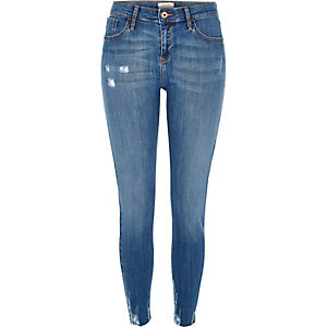 Mid blue wash ripped Amelie superskinny jeans