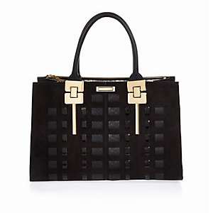 Black woven tote handbag