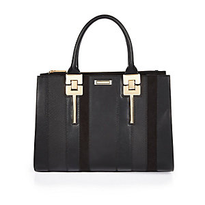Black striped tote handbag