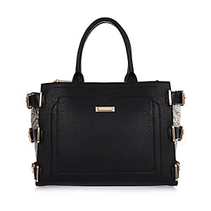 Black buckle side tote handbag