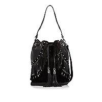 Black leather fringe bucket handbag