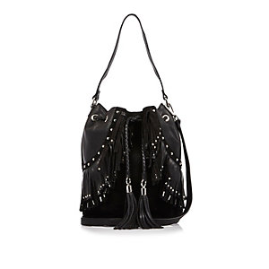 Black leather fringe bucket handbag