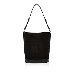 Black suede bucket handbag