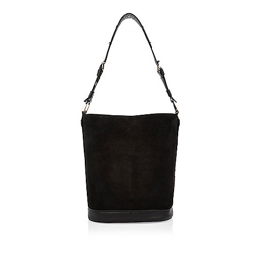 Black suede bucket handbag