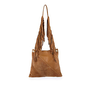 Tan leather fringe cross bodyhandbag