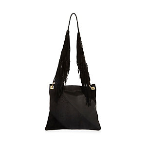 Black leather fringe cross body handbag