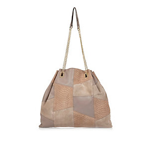 Light brown leather patchwork slouchy handbag