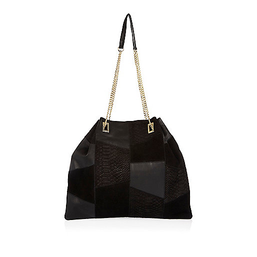 Black leather patchwork slouchy handbag