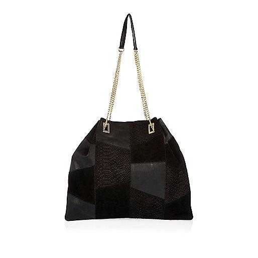 Black leather patchwork slouchy handbag