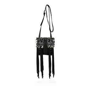 Black leather fringe pouch