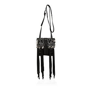 Black leather fringe pouch