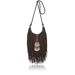 Brown leather fringe cross body handbag