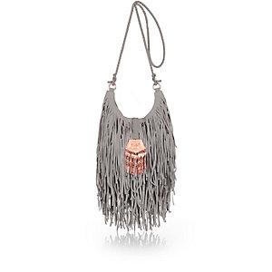 Grey suede fringe handbag