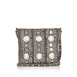 Grey leather embellished handbag