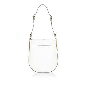 White leather curved handbag
