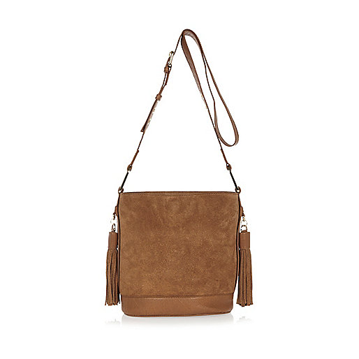 Tan suede tassel bucket handbag