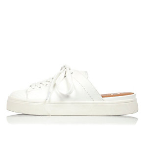 White backless trainers