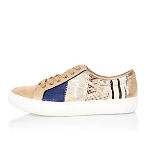 Beige patchwork sneakers